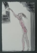 Woman with digital camera - pen and Ink - 2009