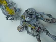 Man carrying Angel - wire-paper-glue- paint-string  2009
